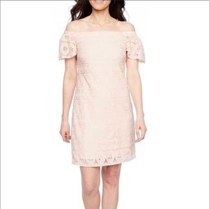 Robbie Bee pink off the shoulder dress plus 14P